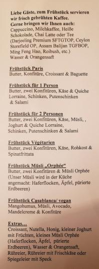 Frühstückskarte Hotel Orphée
