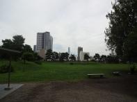 Garten mit der Skyline im Hintergrund